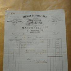 Cartas comerciales: FABRICA DE PORCELANA. MARTORELL Y CIA. PLAZA REAL BARCELONA 1863. Lote 234803370