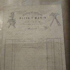 Cartas comerciales: FABRICA DE ANTEOJOS. OLIVA Y MARÍN, SUCESOR DE ARTEAGA. PROVEEDORES DE LA CASA REAL MADRID 1882. Lote 234803925