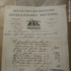 Cartas comerciales: FABRICA DE CAMAS, FUNDICIÓN DE HIERRO. GUILLERMO DUTHU. MADRID. 1870. MÁQUINAS DE VAPOR.. Lote 234804235