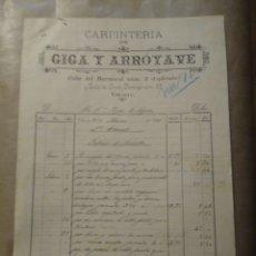 Cartas comerciales: CARPINTERÍA GIGA Y ARROYAVE. CALLE DEL BARRANCAL Y SANTO DOMINGO VITORIA 1901. Lote 234804725