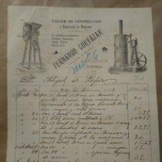 Cartas comerciales: FERNANDO CORTÁZAR. TALLER DE CONSTRUCCIÓN Y REPARACIÓN DE MÁQUINAS. VITORIA 1901. Lote 234806325