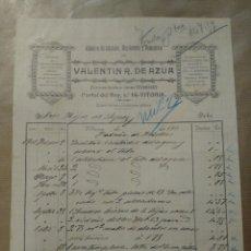 Cartas comerciales: VALENTÍN R. DE AZUA. ALMACÉN DE CRISTALES, HOJALATERÍA Y FUMISTERIA. VITORIA 1901. FIRMA PROPIETARIO. Lote 234808160