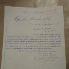 Cartas comerciales: FABRICA DE FERRETERÍA HIJOS DE MENDIZÁBAL. DURANGO VIZCAYA. FIRMA.. Lote 234811705