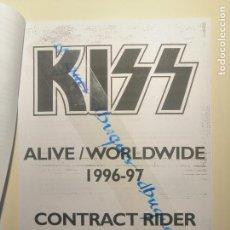 Cartas comerciales: FACSIMIL CONTRATO , KISS, ALIVE/WORLD WIDE 1996-97 CONTRACT RIDER. KEY ARENA SEATTLE 1997. Lote 234901885