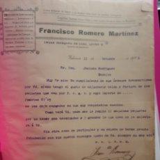 Cartas comerciales: FRANCISCO ROMERO MARTÍNEZ. ABANICOS. MADRID 1916. Lote 234972850