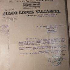 Cartas comerciales: JESÚS LÓPEZ VOLCARSE. CONSERVAS DE PESCADO . VIGO 1939. Lote 234973910