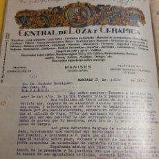 Cartas comerciales: CENTRAL DE LOZA Y CERAMICA . MANISES 1933. Lote 235175980