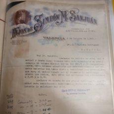 Cartas comerciales: HIJOS DE SIMON M.SAN JUAN ARTÍCULOS DE PIEL .VALENCIA 1941. Lote 235575605