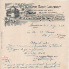 Cartas comerciales: GRAN BAZAR CAMERANO, FERRETERÍA, CRISTAL, ETC DONATO REDONDO ANTÓN. BARCARROTA BADAJOZ.. Lote 235892600