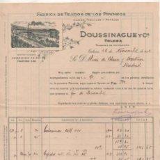 Cartas comerciales: FACTURA. FÁBRICA DE TEJIDOS DE LOS PIRINEOS. DOUSSINAGUE Y CIA. TOLOSA GUIPUZCOA. 1912. Lote 235895005