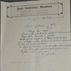 Cartas comerciales: CARTA COMERCIAL. JOSÉ GONZÁLEZ MONTERO. COBRADOR DE ELECTRO FABRIL. JIMENA. ESPAÑA 1926. Lote 236053140