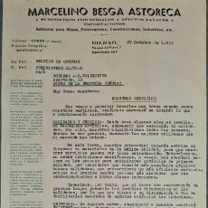 Cartas comerciales: CARTA COMERCIAL. MARCELINO BESGA ASTORECA. SUMINISTROS INDUSTRIALES. BILBAO. ESPAÑA 1955. Lote 236053315