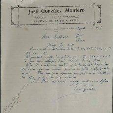 Cartas comerciales: CARTA COMERCIAL. JOSÉ GONZÁLEZ MONTERO. COMISIONES Y REPRESENTACIONES. JIMENA DE LA FRA. 1926. Lote 236053480