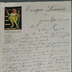 Cartas comerciales: CARTA COMERCIAL. ENRIQUE LOUREIRO. ESPECIALIDADES. VINOS, COÑACS, CHAMPAGNE. FERROL. ESPAÑA 1926. Lote 236241860