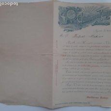 Cartas comerciales: CARTA PUBLICIDAD GUILLERMO RAMOS BARCELONA 1913 FABRICA TEJIDOS LANA SABADELL. Lote 236447630