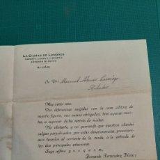Cartas comerciales: GIJÓN ASTURIAS/LA CIUDAD DE LONDRES PAÑERIA .LANERIA DIRIJIDO RIBADEO CARTA CONERCIAL. Lote 236596360