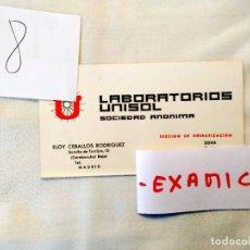 Cartas comerciales: TARJETA COMERCIAL LABORATORIOS UNISOL. Lote 236598840