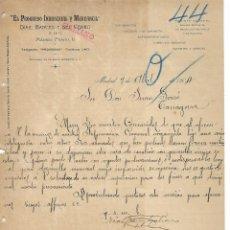 Cartas comerciales: MADRID - 1904 - CARTA COMERCIAL ANTIGUA - EMPRESA HISTORICA - EL PROGRESO INDUSTRIAL Y MERCANTIL. Lote 236614655
