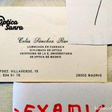 Cartas comerciales: ÓPTICA SANRA - MADRID - TARJETA COMERCIAL CON PRESUPUESTO MANUSCRITO. Lote 236617720