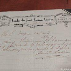 Cartas comerciales: VILLENA , VIUDA DE JOSÉ BAÑÓN CANTOS .. Lote 236988610