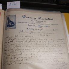 Cartas comerciales: BACCI Y BARTOLINI .VALLADOLID 1933. Lote 237001040
