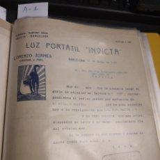 Cartas comerciales: LUZ PORTÁTIL. INVICTA .LORENZO JUANES. BARCELONA 1923. Lote 237001335