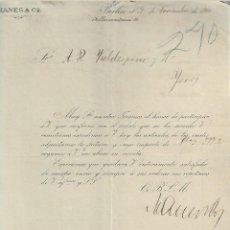 Cartas comerciales: CARTA COMERCIAL + FACTURA. MANES & CO. FABRICA DE TARJETERÍA. 1900. BERLÍN, ALEMANIA. VER. Lote 237302730