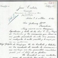 Cartas comerciales: CARTA COMERCIAL. JUAN CASTAÑO. COMISIONISTA. 1895. HABANA, CUBA. 3 PAGINAS. Lote 237303355
