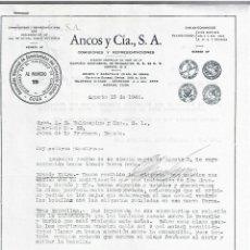 Cartas comerciales: CARTA COMERCIAL. ANCOS Y CIA S.A. COMISIONES Y REPRESENTACIONES. 1946. CUBA. 2 PAGINAS. Lote 237303425