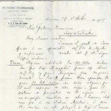 Cartas comerciales: CARTA COMERCIAL. REINOSO HERMANOS. 1909. AREQUIPA, PERÚ - LA PAZ, BOLIVIA. 2 PAGINAS. Lote 237303640