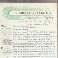 Cartas comerciales: CARTA COMERCIAL. CASA LIMONGI, BURAGLIA & CO. 1919. BOGOTA, COLOMBIA. 2 PAGINAS. Lote 237303965