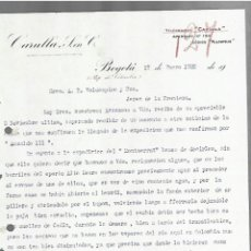 Cartas comerciales: CARTA COMERCIAL. CARULLA, S EN C. 1920. BOGOTÁ, COLOMBIA. 2 PAGINAS. Lote 237304030