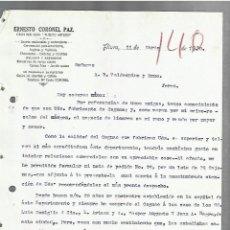 Cartas comerciales: CARTA COMERCIAL. ERNESTO CORONEL PAZ. GRAN BAR SALÓN PUERTO ARTURO. 1920. PIURA, PERÚ. 2 PAGINAS. Lote 237304160