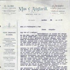 Cartas comerciales: CARTA COMERCIAL. MAS Y ANGLARILL. EL GLOBO DULCERIA Y PASTELERIA. ORIZABA. 1918. MÉXICO. 2 PAGINAS. Lote 237304570