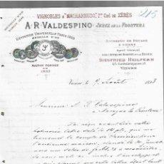 Cartas comerciales: CARTA COMERCIAL. A.R.VALDESPINO. VINOS. 1893. VIENA, AUSTRIA. 2 PAGINAS. Lote 237305055