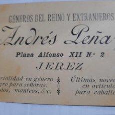 Cartas comerciales: PUBLICIDAD ANTIGUA .JEREZ DE LA FRONTERA.CADIZ..GÉNEROS DEL REINO Y DEL EXTRANJERO.ANDRES LEÑA..FACT. Lote 237345585