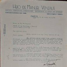Lettere commerciali: CARTA COMERCIAL. HIJO DE MANUEL VENZALÁ. AGENTE COMERCIAL COLEGIADO. MARTOS. JAÉN. ESPAÑA 1952. Lote 238103895