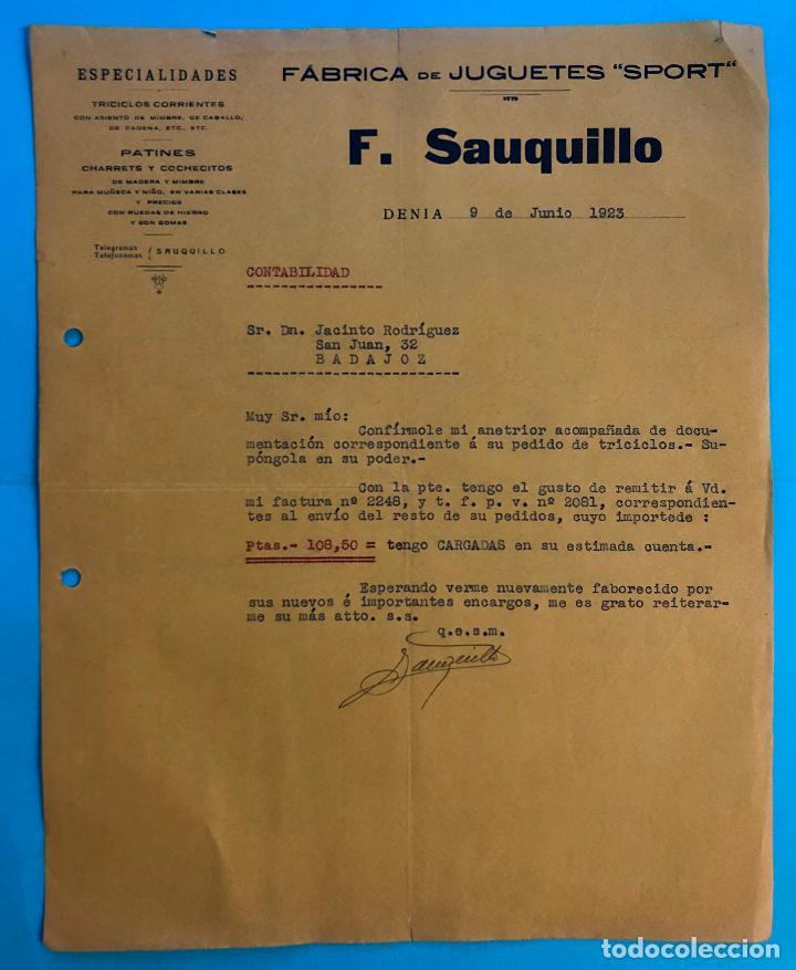 FABRICA DE JUGUETES SPORT.TRICICLOS CORRIENTES PATINES CHARRETS. F. SAUQUILLO. DENIA JUNIO 1923. (Coleccionismo - Documentos - Cartas Comerciales)