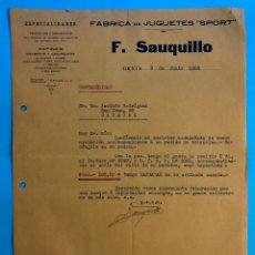 Cartas comerciales: FABRICA DE JUGUETES SPORT.TRICICLOS CORRIENTES PATINES CHARRETS. F. SAUQUILLO. DENIA JUNIO 1923.. Lote 238301150