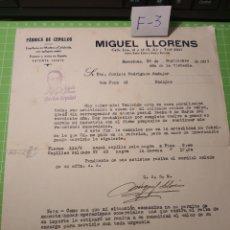 Cartas comerciales: FABRICA DE CEPILLOS .MIGUEL LLORENS .1939. Lote 238564275