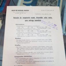Cartas comerciales: RELACION DE MAQUINARIA INDUSTRIAL HIJO DE MIGUEL MATEU VALENCIA 1954. Lote 242452455