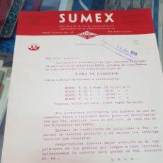 Cartas comerciales: ANTIGUA CARTA COMERCIAL PRODUCTOS AGRÍCOLAS SUMEX GOMA DE GARROFIN VALENCIA 1954. Lote 242453735