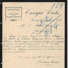 Cartas comerciales: CARTA COMERCIAL ANTIGUA - HISTORIA CIUDAD - REUS - ANY 1902 - ENRIQUE COCHS - TALLER PIPERIA. Lote 243179380