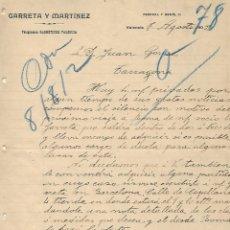Cartas comerciales: CARTA COMERCIAL ANTIGUA - HISTORIA CIUDAD - VALENCIA AÑO 1902 - GARRETA Y MARTINEZ. Lote 243181280