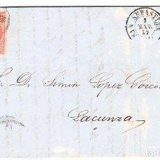 Cartas comerciales: 1859 CARTA COMPLETA LACUNZA A SAN SEBASTIÁN. Lote 243530090