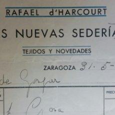Cartas comerciales: FACTURA CARTA DE ZARAGOZA LAS NUEVAS SEDERIAS AÑO 1933. Lote 243589560