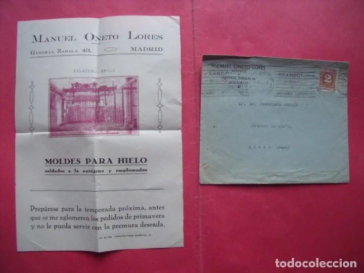 MANUEL ONETO LORES.-MECANICO.-MOLDES PARA HIELO.-CARTA COMERCIAL.-MADRID.-AÑO 1940. (Coleccionismo - Documentos - Cartas Comerciales)