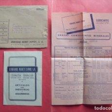 Cartas comerciales: ENRIQUE MIRET ESPOY.-LUBRICANTES.-GRASAS.-AUTOS.-CAMIONES.-TRACTORES.CARTA COMERCIAL.-MADRID.-1952.. Lote 244200480