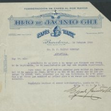 Cartas comerciales: ANTIGUA CARTA COMERCIAL HIJO DE JACINTO GILI AÑO 1932 FIRMADA CAFES HAITI. Lote 244452970