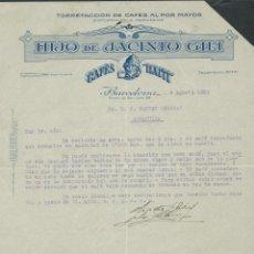 Cartas comerciales: ANTIGUA CARTA COMERCIAL HIJO DE JACINTO GILI AÑO 1932 FIRMADA CAFES HAITI. Lote 244453000